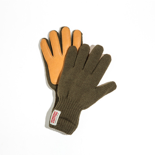 "Newtech lined ragg wool Glove with Deerskin Palm ""D.OLIVE"""