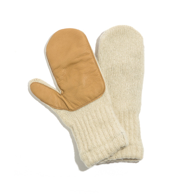 Wool Mitten with Deerskin Palm