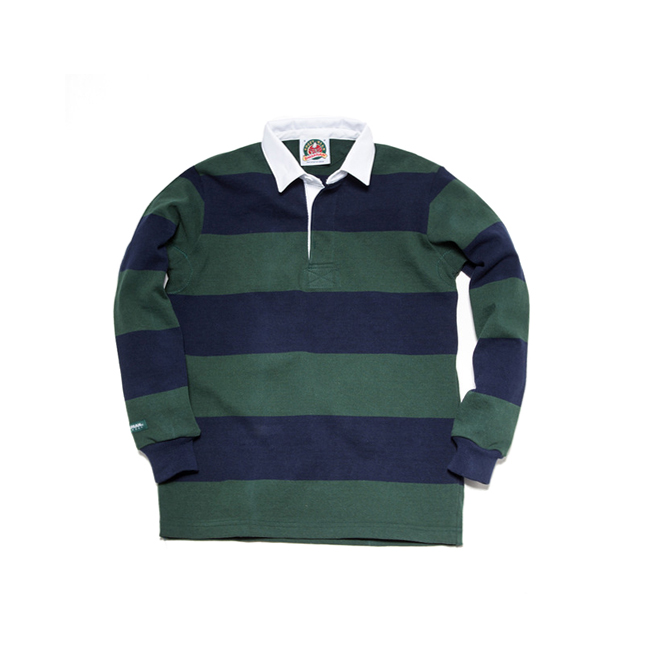 "12oz Classic Rugby Jerseys ""BOTTLE/NAVY""Japan Fit"