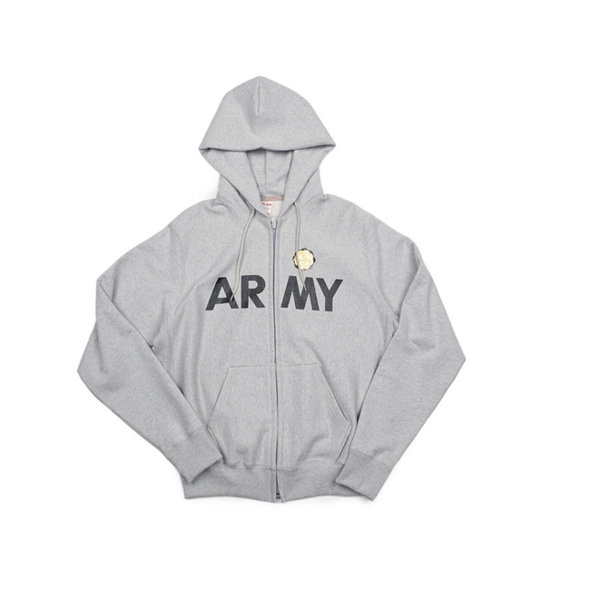 "ARMY Sweat Zip parka  ""GREY MELANG"""