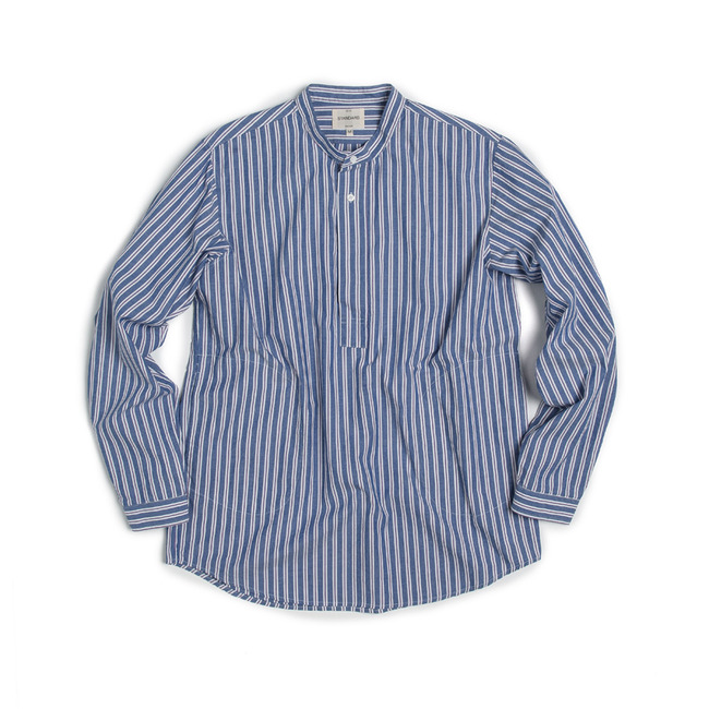 "Stripe China-Colllar Shirt ""BLUE""   ONLINE ONLY"