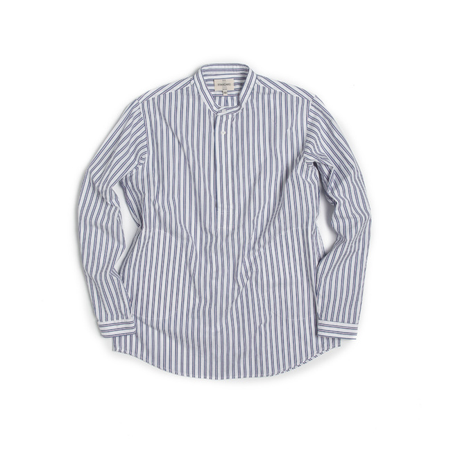 "Stripe China-Colllar Shirt ""WHITE""   ONLINE ONLY"