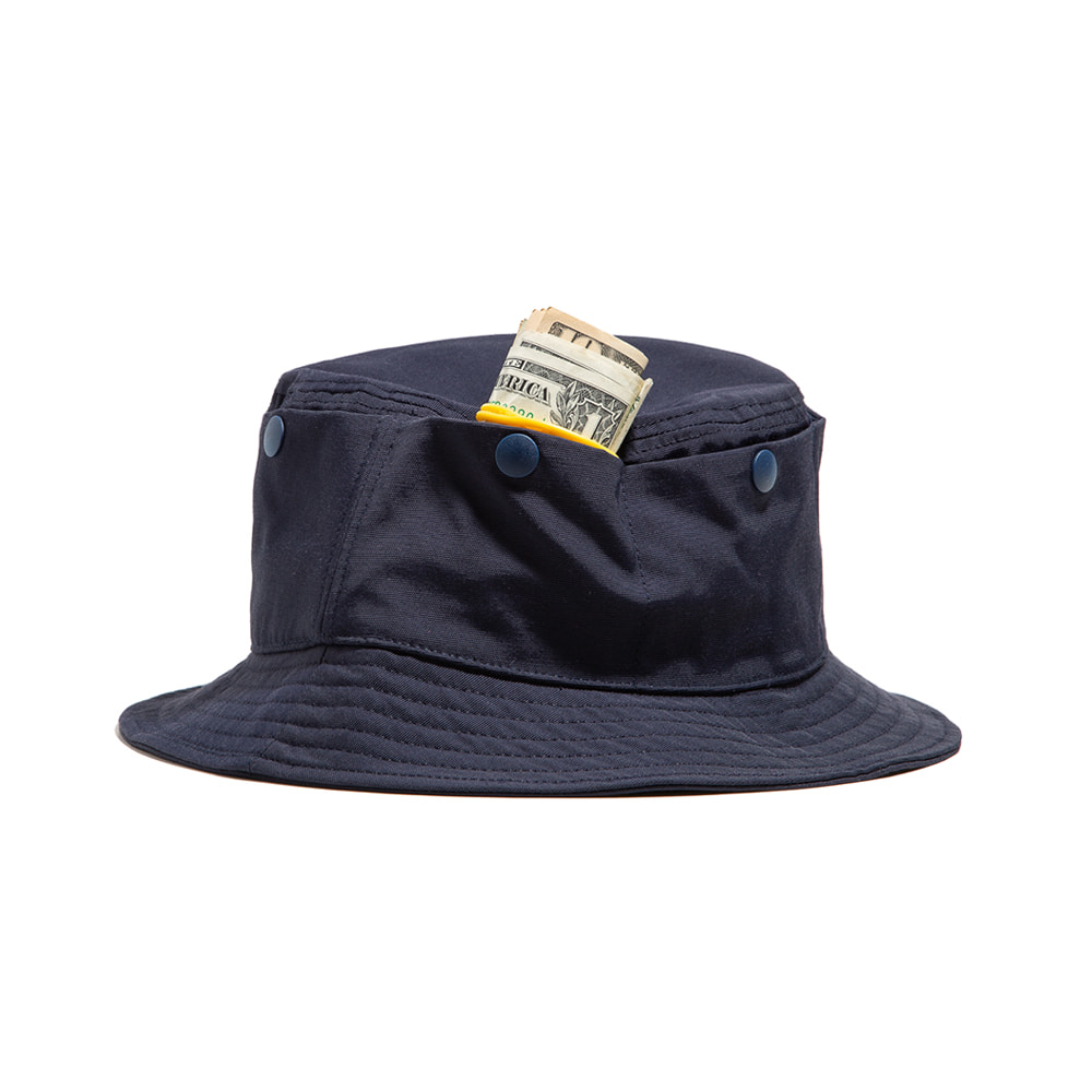 "TRAVEL POCKET BUCKET HAT ""NAVY"""