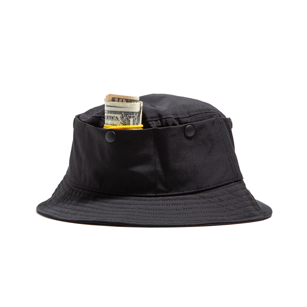 "TRAVEL POCKET BUCKET HAT ""BLACK"""