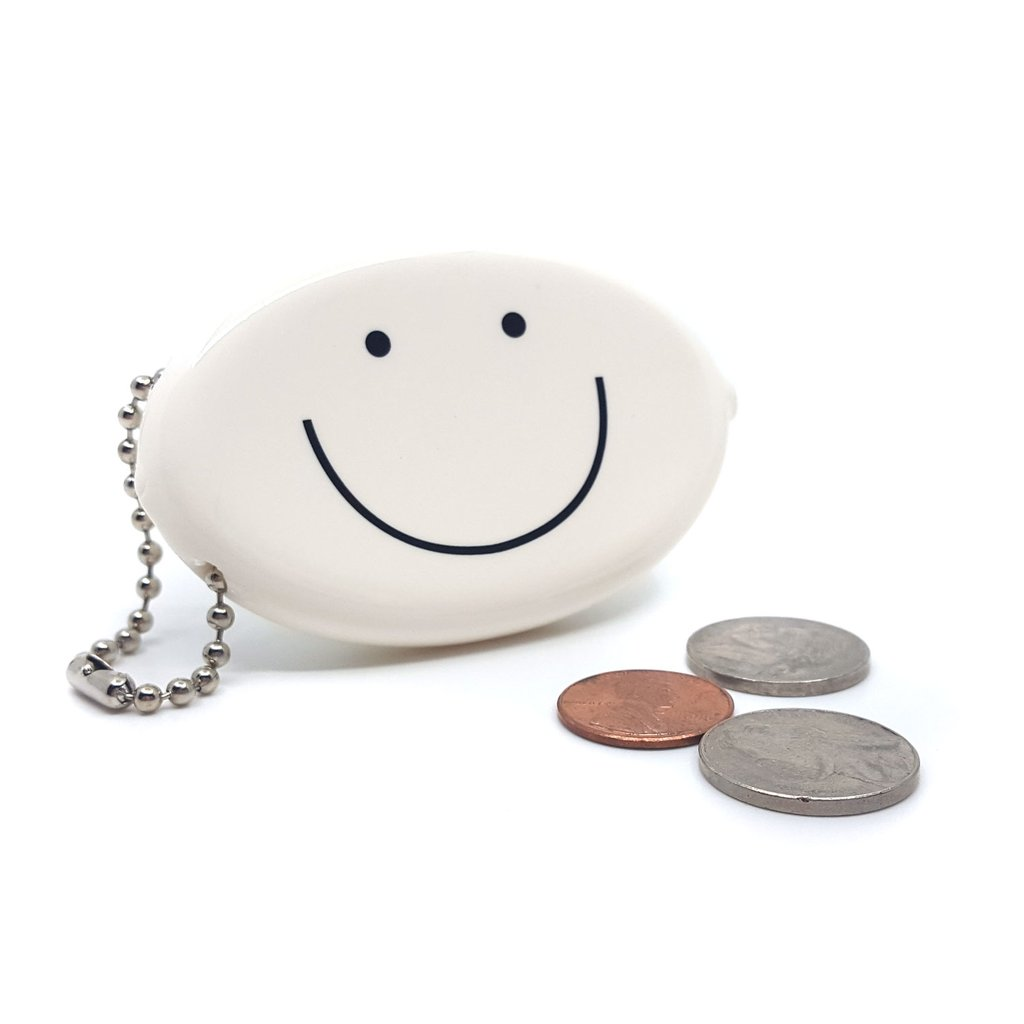Coin Pouch - Smiley Face (White)