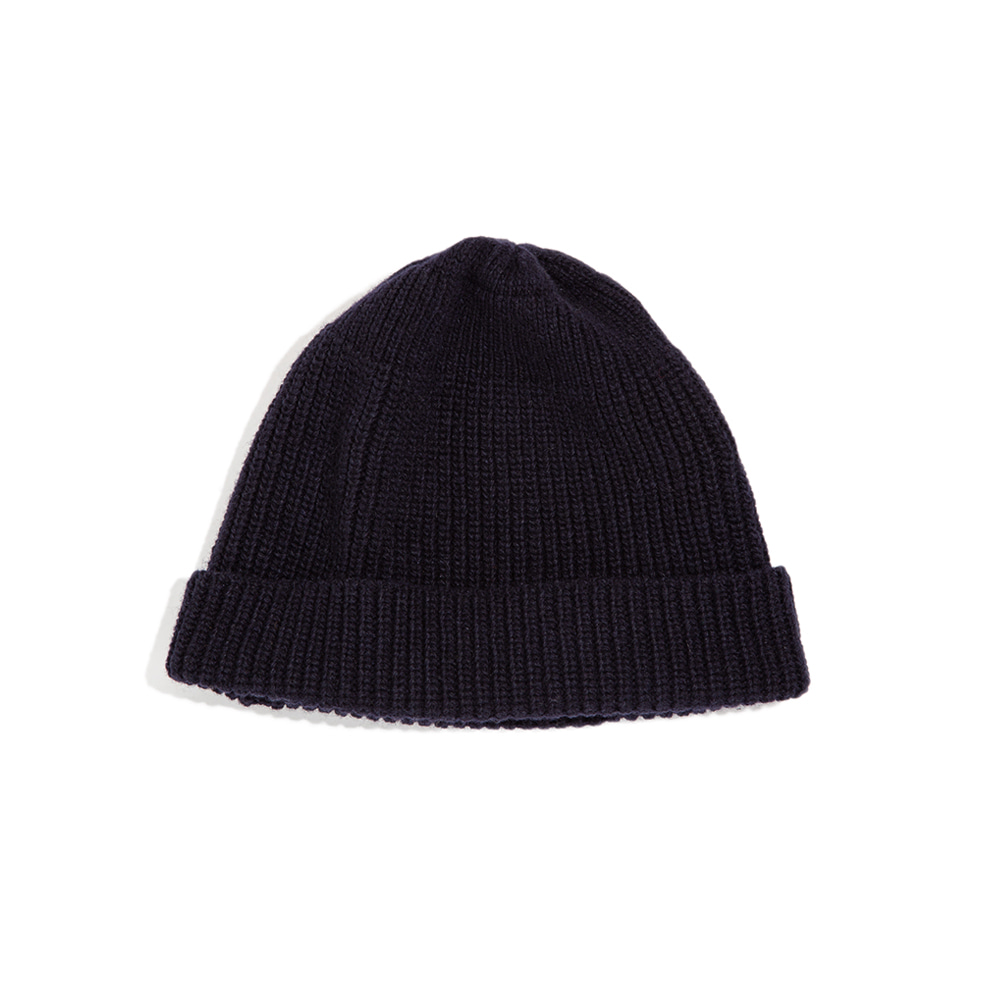 Lammbs Wool Ribbed Beanie NAVY램스울로 따뜻한 비니