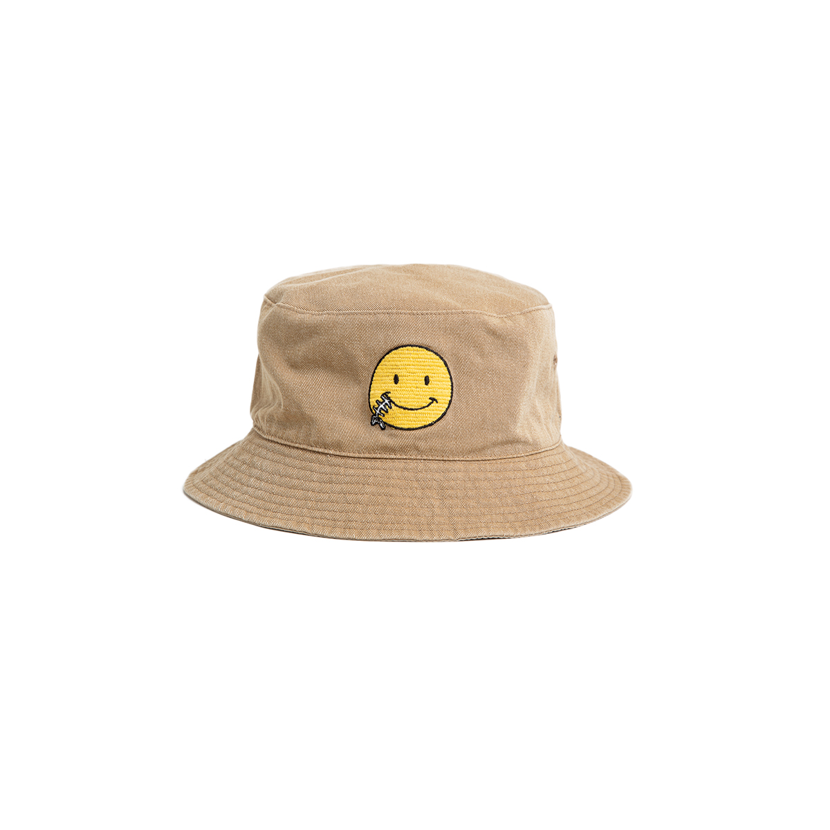 "Reversible Needle Bucket_SMILE ""SAND BEIGE"" 자수가 촘촘히 들어간 버킷"