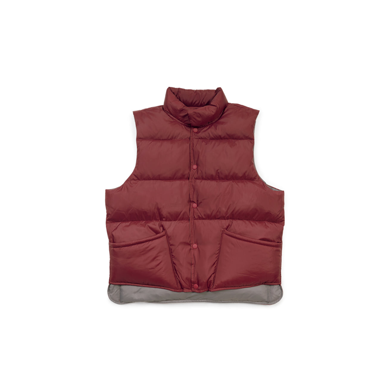 "Two Way Reversible Down ""BURGUNDY / GREY""양면 오리털 조끼"