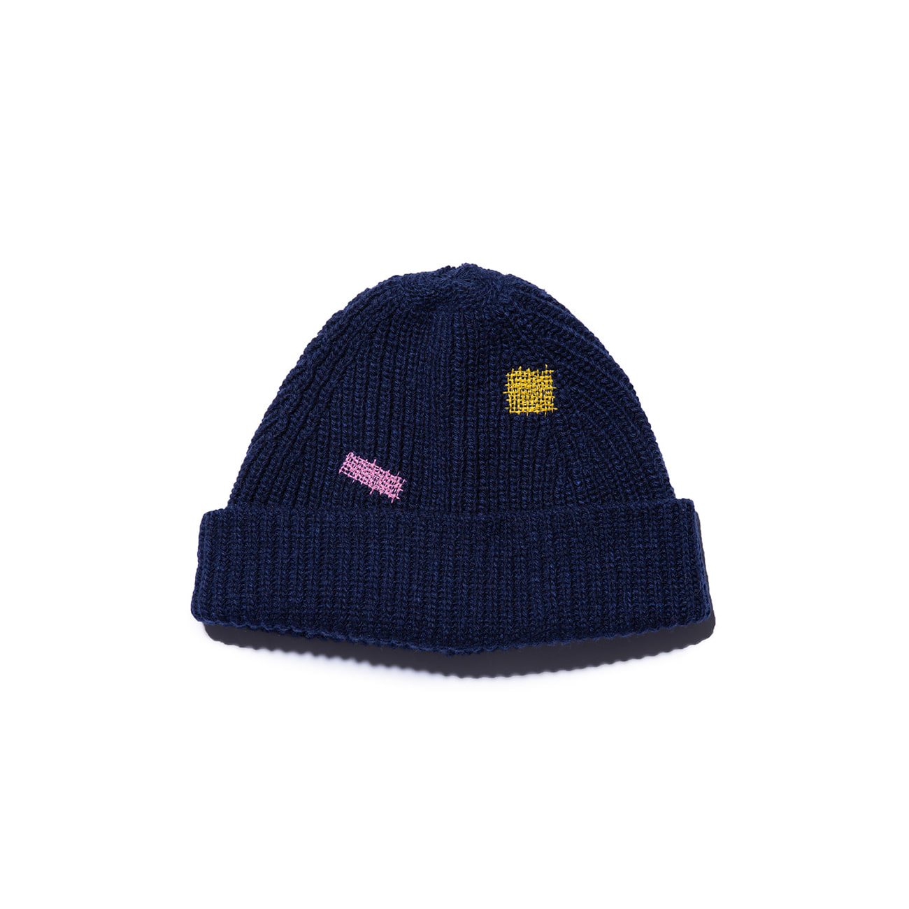 "Vintage Effect Wool Beanie ""NAVY"""